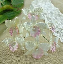 5 x LARGE ORCHIDS - WHITE & PINK  Mulberry Paper Flowers for Cardmaking & Crafts