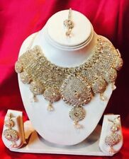 Bollywood Indian Bridal Necklace Earrings Tikka Jewellery EID White Gold H57