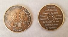 Recovery coins AA 18 Year Bronze Bill & Bob Medallion Tokens Sobriety Birthday