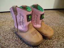 John Deere Poppers Pink Boot 3 Euc Baby Infant Toddler Slipper Boot Crib Johnny