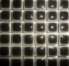 81 Mini céramique vernie tuiles de Mosaïque 10mm - charbon