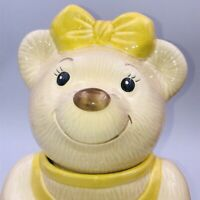 "Vintage Metlox Ballerina Bear Cookie Jar Yellow Dress CA Pottery 12"" Tall"