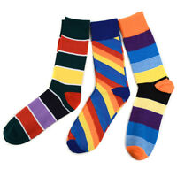 Terraty Men's 3 Pack Bold Colorful Prism Stripe Dress Casual Socks Size 9-12