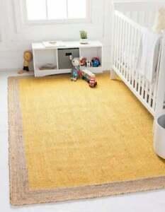 Natural Jute Rug For Home Decor Yellow Dye Carpet Modern Rectangle Rug 9X12 Feet