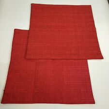 Kevin Textile Faux Linen Square Throw Pillow Cover 18x18 inch 2 set Sangria Red
