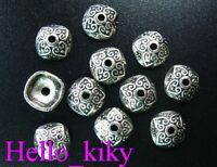 150 Pcs Tibetan silver heart floral bead caps A895