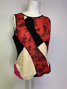 Custo Barcelona Sleeveless Tank Top Shirt Red Black Graphic Print Size 2 Medium