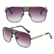 Large Square Aviator Vintage Metal Bar Designer Retro Fashion Sunglasses For Men