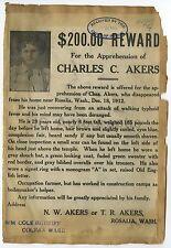 Wanted Sheets - 2 Vintage Wanted Sheets - Washington - 1913