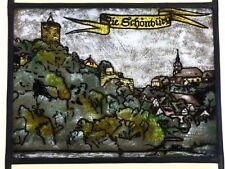 """Bleiverglasung älteres Fensterbild Glasmalerei """"Die Schönburg"""" auf E. Antikglas"""