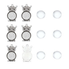 10Sets Owl Style Pendant Makings Cabochon Settings With Glass Cabochon Tray 20mm
