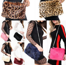 0ffc1ea5091f Ladies Designer Soft Fluffy Feather Faux Fur Clutch Bag Purse Chain Runway  NEW