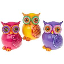 Brightly Coloured Owl Bank,Flower Eyes Owl Shaped Glossy Money Bank in 3 colours
