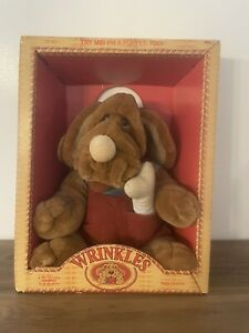 """Ganz Bros Wrinkles the Dog Hand Puppet 12"""" Stuffed 6002 New in Box 1981 Vintage"""
