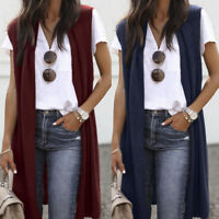 Women's Sleeveless Open Front Pocket Ladies Lightweight Kimono Cardigan Coats