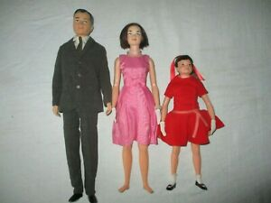 1960s Remco Littlechap Family Dr John, Judy and Libby Dressed Doll Lot