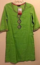 Womens Kurti Pakistani Tunic Dress Size M Green Embroidered Split On Sides