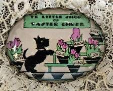 SCOTTY DOG IN FLOWER SHOP Glass OVAL DOME Studio BUTTON XL Vintage EASTER CARD