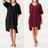 ZANZEA Women Summer Short Sleeve Sundress Club Party Beach Plus Size Shift Dress