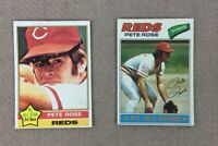 Topps Pete Rose Card Lot 1976 1977 #240 #450 Ready To Be Graded Reds HOF