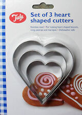 Forma A CUORE BISCOTTI CUTTER, Icing Pastry MARZAPANE IN ACCIAIO INOX, pack 3, Tala