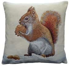 Red Squirrel Woven Tapestry Cushion Cover