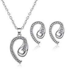 Ladies Earrings Necklace Pendant Set Silver Stud Jewellery Chain Gift Fashion Uk