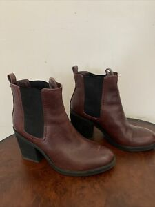 Clarks Somerset Ladies Oxblood Leather Heel Chelsea Ankle Boots Size UK 5D EU 36