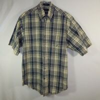 Nautica Mens Casual Button Front Dress Beige Plaid Shirt Size SMALL S