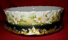 Signed T & V Limoges Hand Painted Serving Bowl With Daisey Floral Decoration