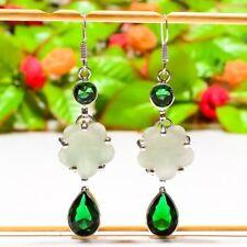 "Exciting Aqua Chalcedony, Emerald Quartz Jewelry Earring 2.76"" E-745"
