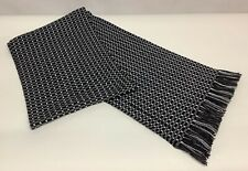 "Hugo Boss Men's Black Grey White Check Scarf  71"" x 10"" Including 2"" Fringe"