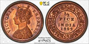 India British 1892 C 1/2 Pice PCGS PR64RB Restrike Proof SW-6.573 PC1012 combine