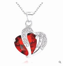 Ruby Red Heart Necklace Chain Pendant White Gold plated Gift Wife Mum