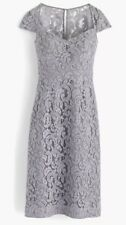 J Crew Tinsley Dress Leavers Lace Storm Grey Size 2 Wedding Bridesmaid A9023
