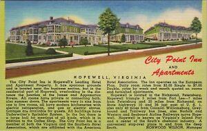 Linen postcard, City Point Inn, Hopewell, Virginia