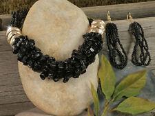 NECKLACE SET Black/Gold Natural Stone Chips Seed Beads Designer Stone Set