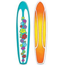 5 FEET! Jointed Surfer SURFBOARD Beach Cardboard Cutout Hanging  Hang Ten Birthd