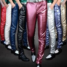 New Mens Motorcycle Straight Pencil Pants Punk PU Leather Trousers Club T01