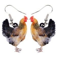 Acrylic Chicken Hen Earrings Drop Dangle Farm Animal Jewelry For Women Kid Charm