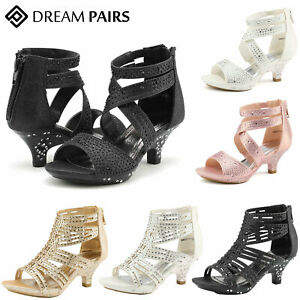 DREAM PAIRS Girls Dress Pumps Low Heel Party Rhinestone Dance Wedding Pumps