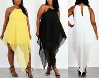 Plus Size Halter Chain Strap Hi Low Chiffon Bodycon Mini Dress