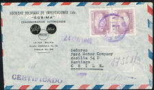 1587 BOLIVIA TO CHILE REGISTERED AIR MAIL COVER 1949 LA PAZ - SANTIAGO