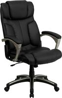 High Back Folding Black Leather Executive Office Chair - Office Task Chair