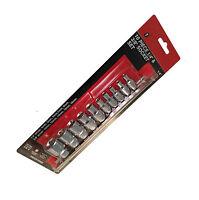 "10PC Dr 1/4"" 3/8"" Female Torque Torx Sockets On Rail E Star Chrome Vanadium"