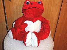 STUFFED VALENTINE FROG RED WITH WHITE HEART TOY ANIMAL