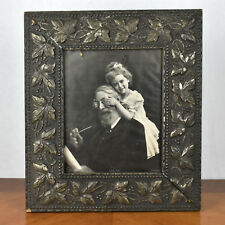 VTG Ornate Gray and Silver Leaf Wood Composite Black Forest Frame w/ Old Print