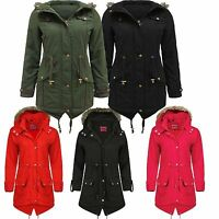 NEW LADIES WOMENS DUFFLE WOOL PARKA COAT WINTER HOODED TOGGLE JACKET PLUS SIZES