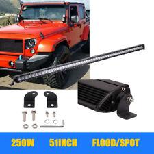 "250W 51"" Single Row Slim LED Light Bar+1lead Wire Harness Kits For Ford JK"