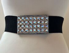 WIDE ELASTICATED BLACK WAIST BELT / SILVER METAL & CRYSTAL BUCKLE / 30